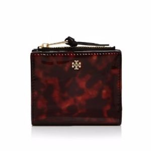 Tory Burch Robinson Tortoise Mini Zip Wallet
